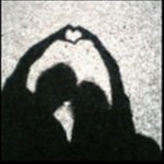 Couple silouette with hearts